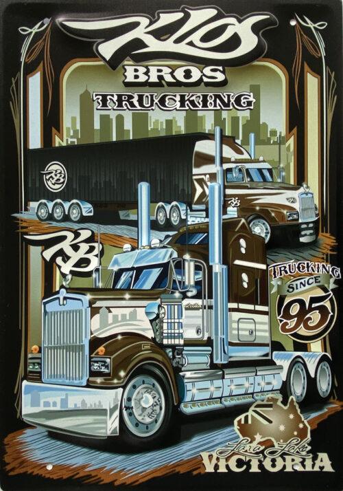 Retro metalen bord groot reliëf - Bros trucking