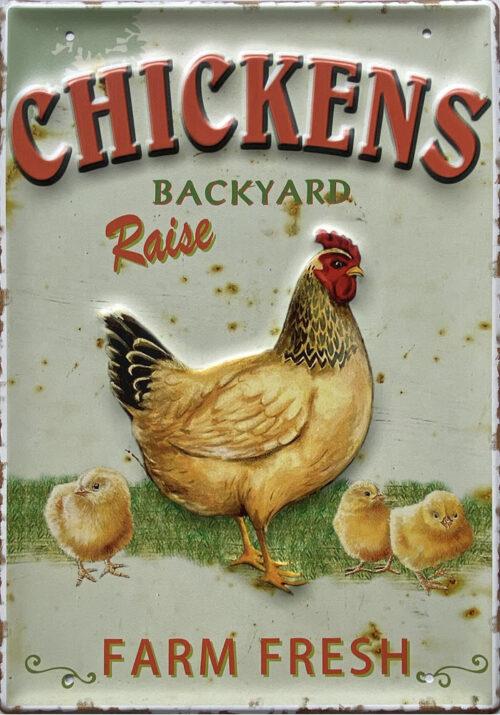 Retro metalen bord groot reliëf - Chickens