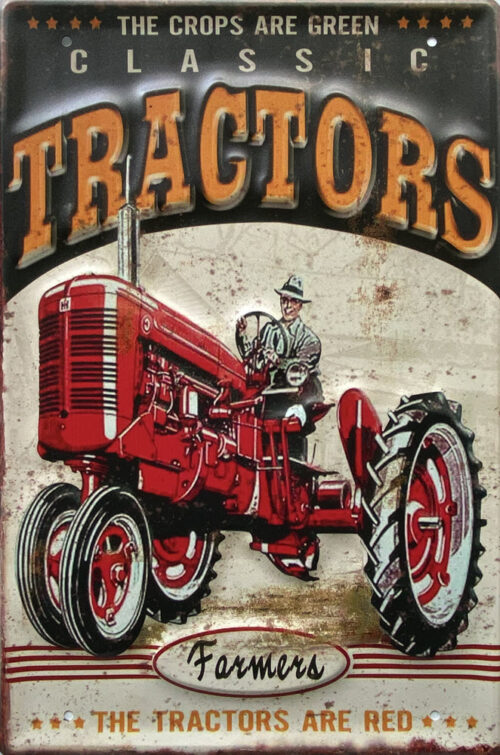 Retro metalen bord groot reliëf - Classic tractors