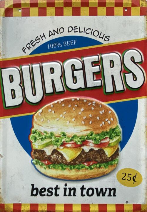 Retro metalen bord groot reliëf - Fresh and delicious burgers