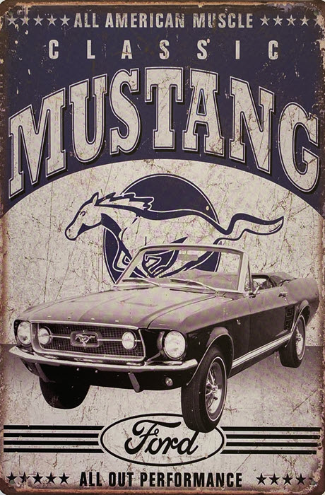 Retro metalen bord limited edition - All American muscle Classic Ford Mustang