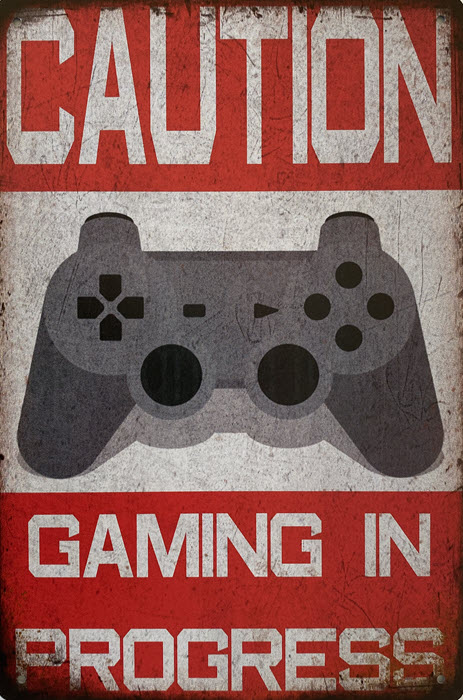 Retro metalen bord limited edition - Caution gaming in progress