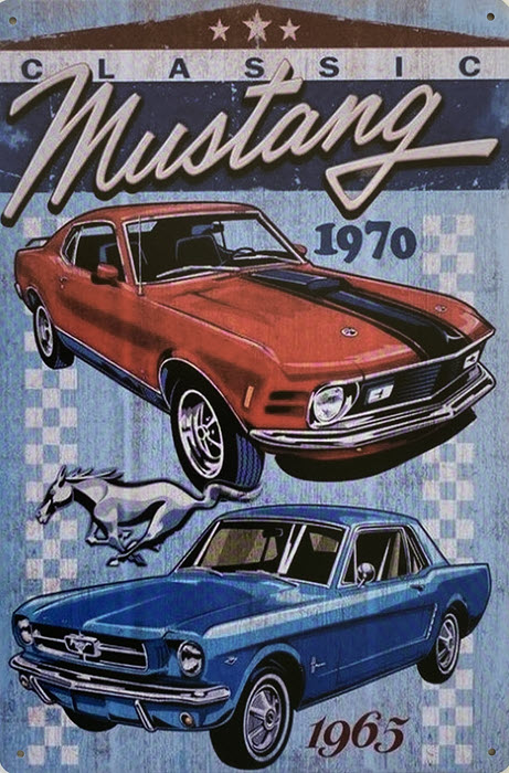 Retro metalen bord limited edition - Classic Ford Mustang