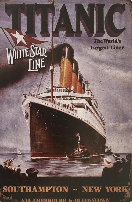 Retro metalen bord limited edition - Titanic white star line