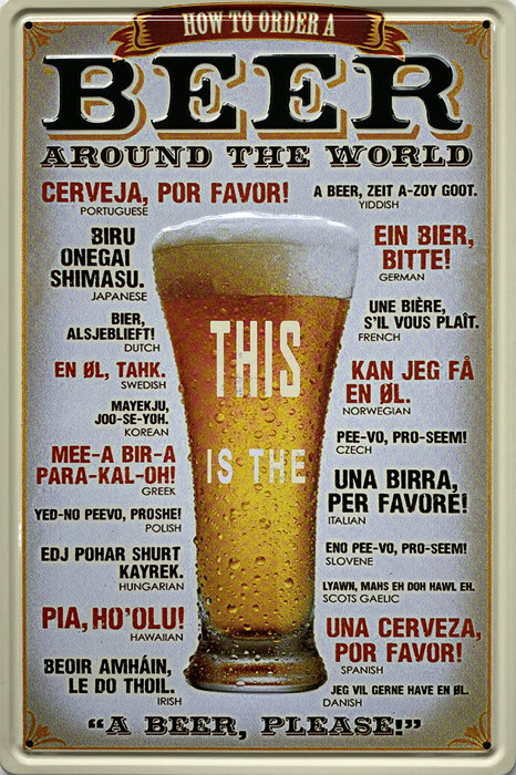Retro metalen bord reliëf - Beer around the world