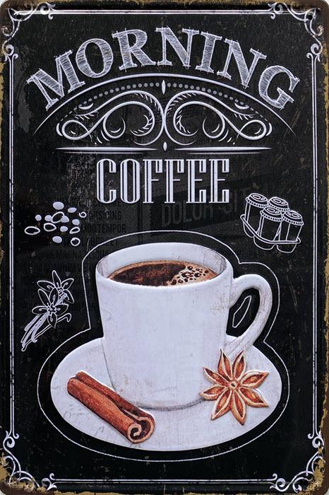 Retro metalen bord reliëf - Morning coffee