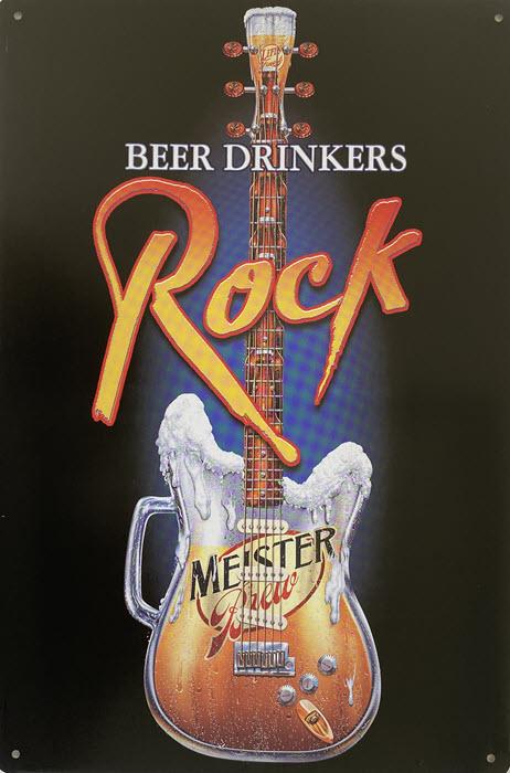 Retro metalen bord vlak - Beer drinkers rock