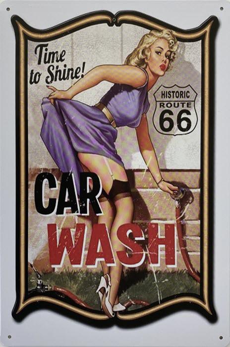 Retro metalen bord vlak - Car wash