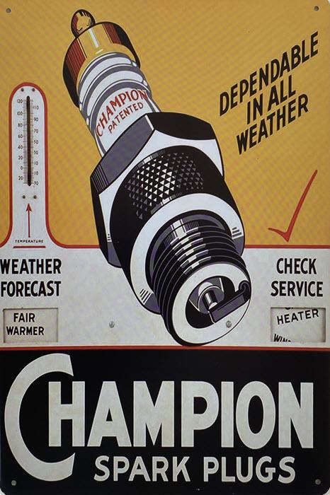 Retro metalen bord vlak - Champion spark plugs