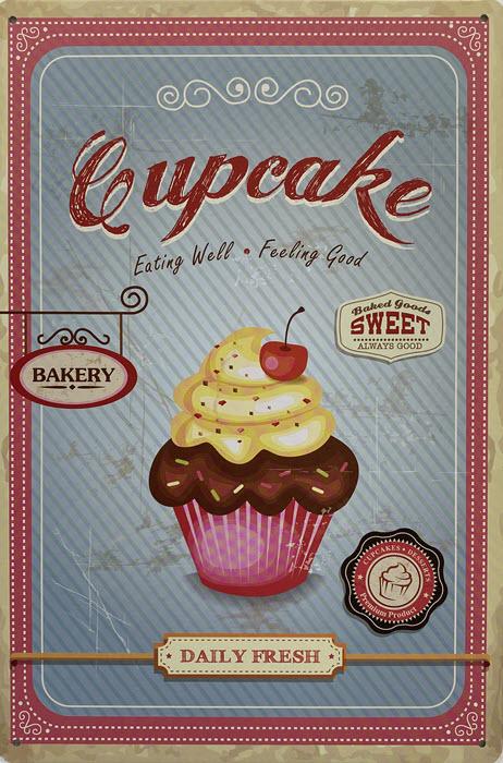 Retro metalen bord vlak - Cupcake