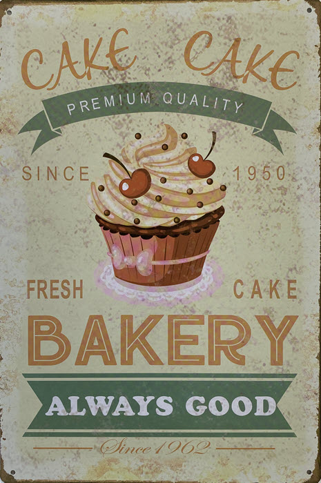 Retro metalen bord vlak - Fresh cake bakery always good