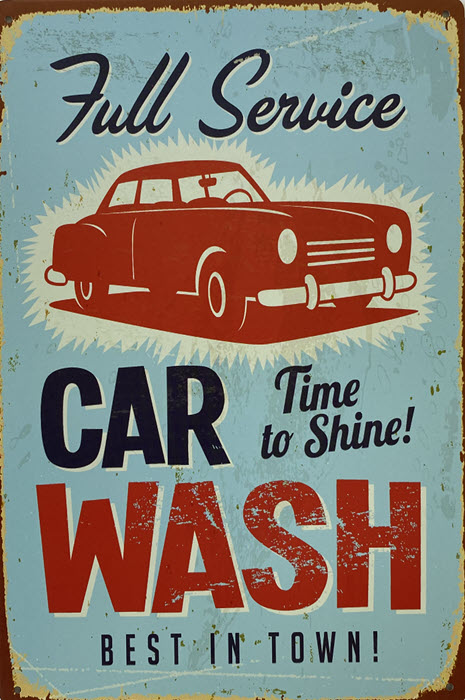 Retro metalen bord vlak - Full service car wash