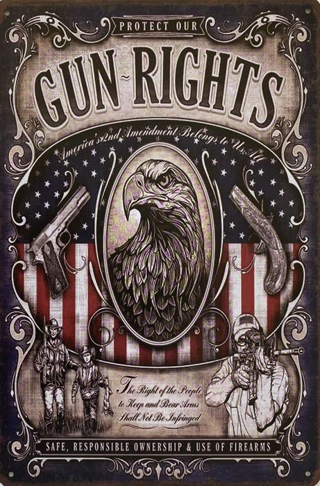 Retro metalen bord vlak - Gun rights