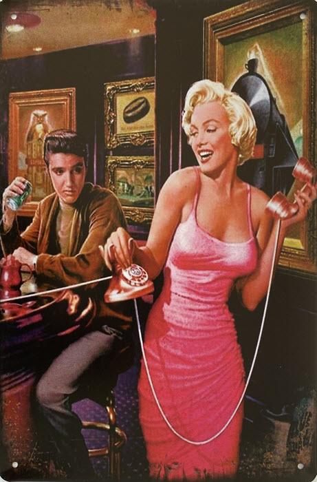 Retro metalen bord vlak - Marilyn Monroe en Elvis Presley