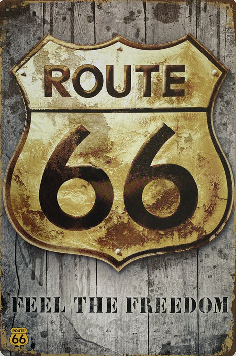Retro metalen bord vlak - Route 66 feel the freedom