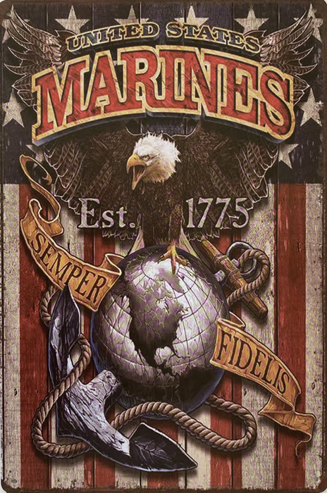 Retro metalen bord vlak - United States marines