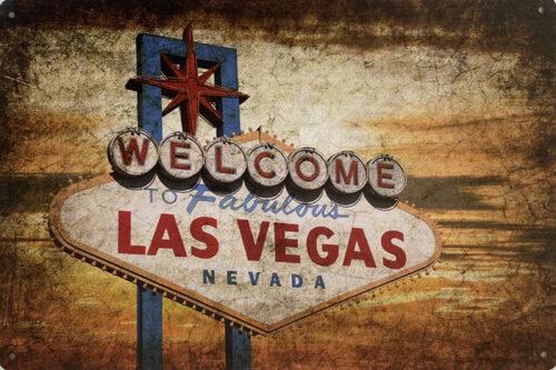 Retro metalen bord vlak - Welcome to fabulous Las Vegas Nevada