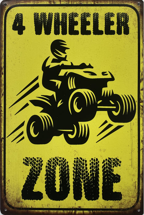 Retro metalen bord limited edition - 4 Wheeler zone
