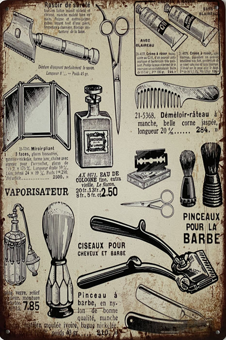 Retro metalen bord limited edition - Barber shop attributes