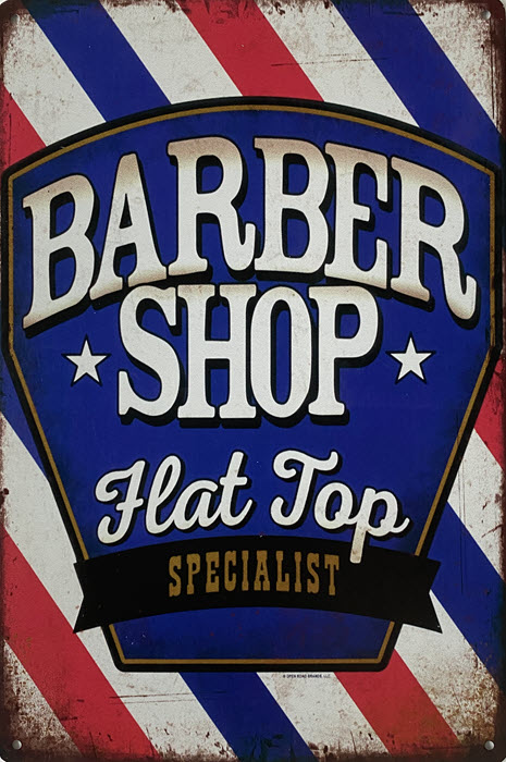 Retro metalen bord limited edition - Barber shop hat top