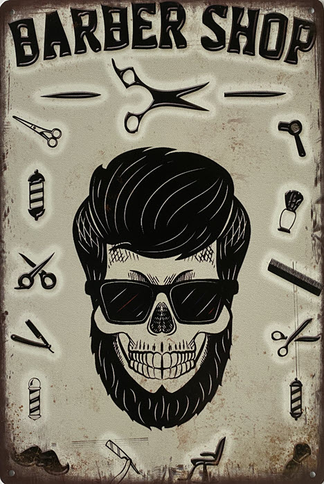 Retro metalen bord limited edition - Barber shop