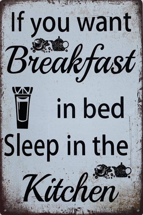 Retro metalen bord limited edition - Breakfast in bed