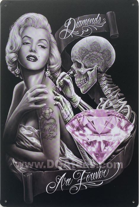 Retro metalen bord limited edition - Diamonds are forever