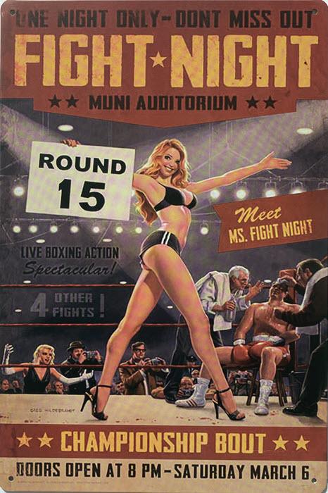 Retro metalen bord limited edition - Fight night