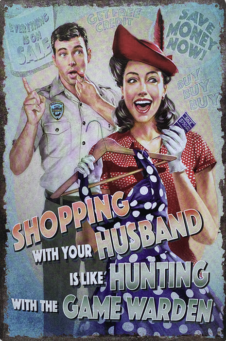 Retro metalen bord limited edition - Shopping with your husband