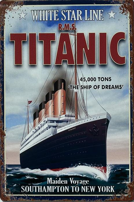 Retro metalen bord limited edition - White star line Titanic