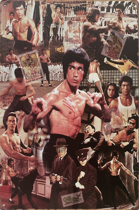 Retro metalen bord limited edition - Bruce Lee collage