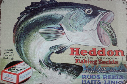 Retro metalen bord limited edition - Heddon fishing tackle