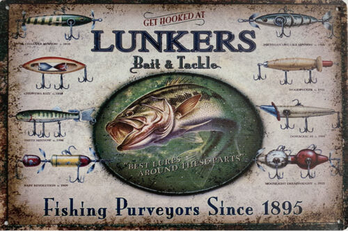 Retro metalen bord limited edition - Lunkers fishing purveyors since 1895
