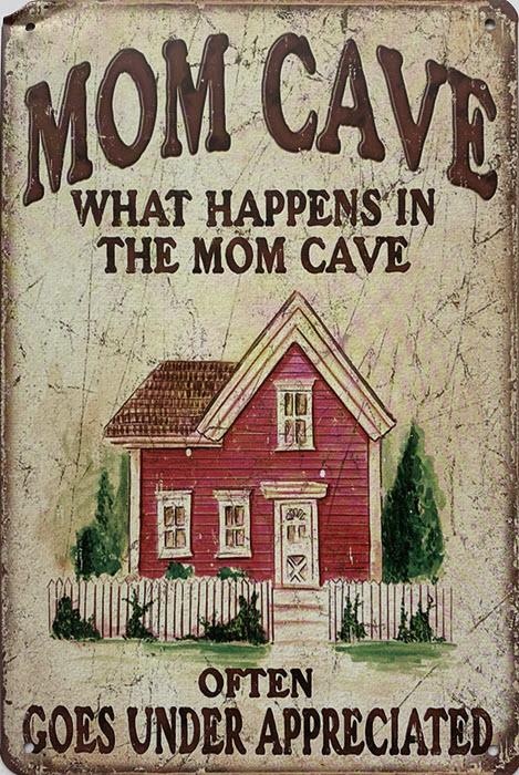 Retro metalen bord limited edition - Mom cave