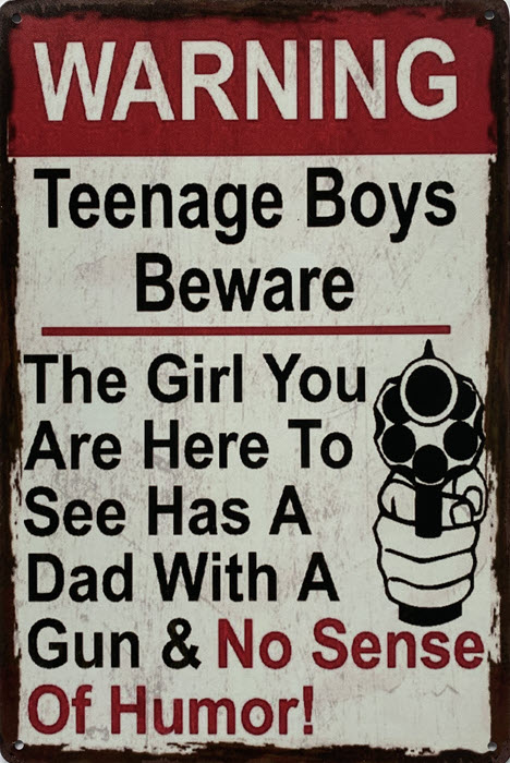 Retro metalen bord limited edition - Warning teenage boys beware