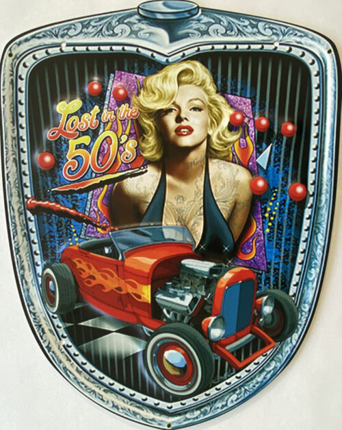 Retro metalen bord speciale vormen - Lost in the 50's