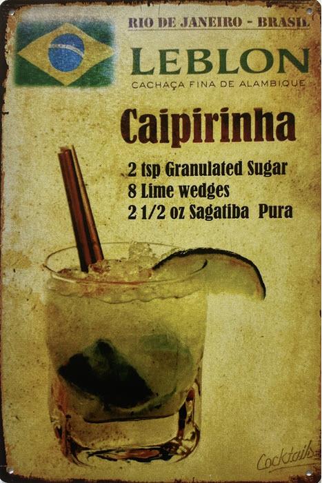 Retro metalen bord vlak - Caipirinha