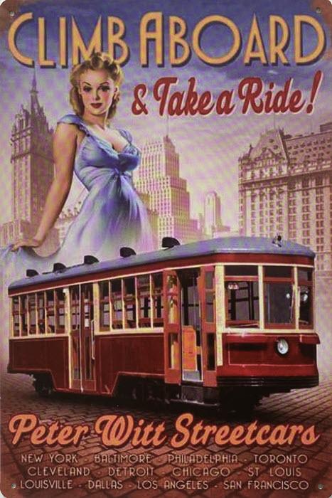 Retro metalen bord vlak - Climb aboard & take a ride