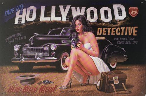 Retro metalen bord vlak - Hollywood detective