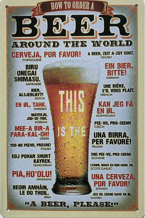 Retro metalen bord vlak - How to order a beer