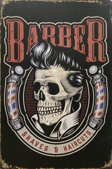 Retro metalen bord limited edition - Barber shaves & haircuts