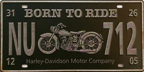 Retro metalen bord nummerplaat - Born to ride
