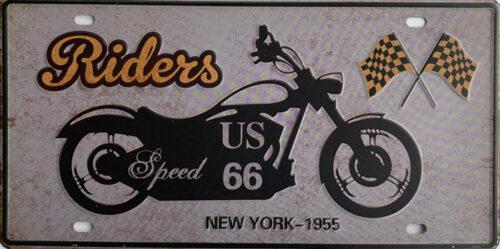 Retro metalen bord nummerplaat - Riders