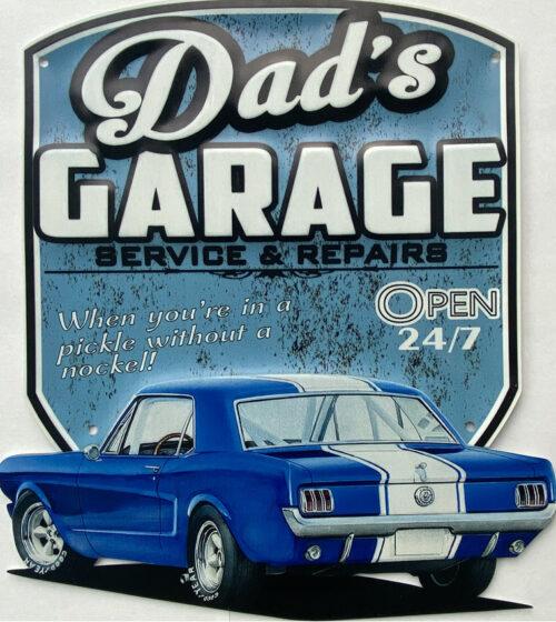 Retro metalen bord speciale vormen - Dad's garage