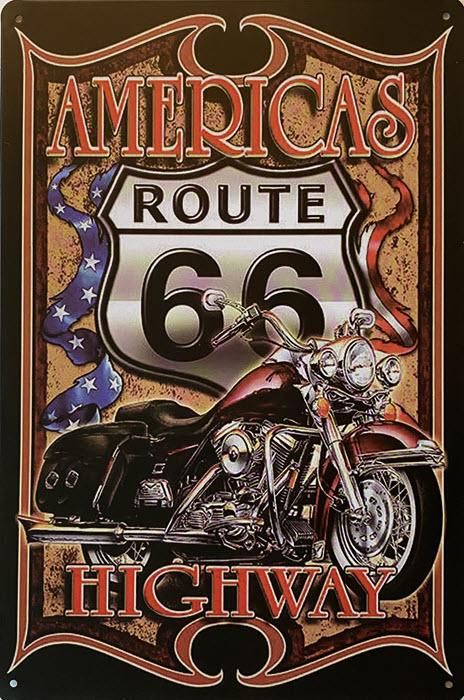 Retro metalen bord vlak - Americas route 66 highway