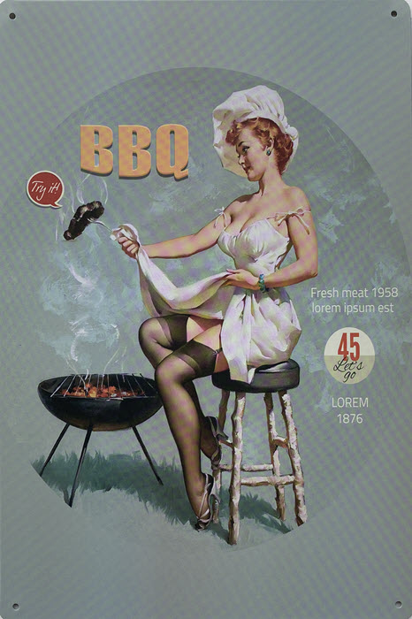 Retro metalen bord vlak - BBQ