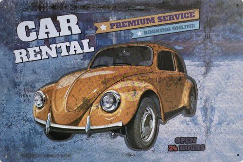 Retro metalen bord vlak - Car rental Volkswagen