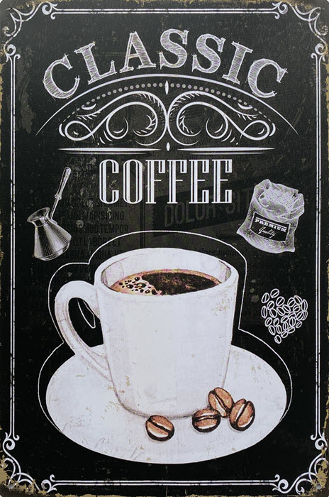 Retro metalen bord vlak - Classic coffee