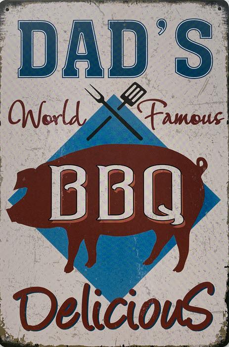 Retro metalen bord vlak - Dad's BBQ