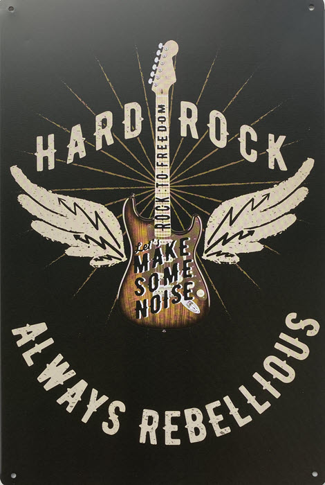 Retro metalen bord vlak - Hard rock always rebellious